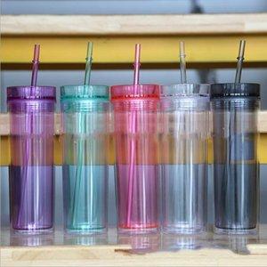 16 oz bicchiere acrilico skinny con coperchio e palpetta doppia parete trasparente tazza di plastica bottiglia d'acqua diritta