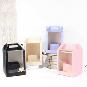 하이 엔드 투명 PVC 창 꽃 꽃다발 포장 상자 손으로 운반 크래프트 종이 상자 선물 포장 상자 DWD6402