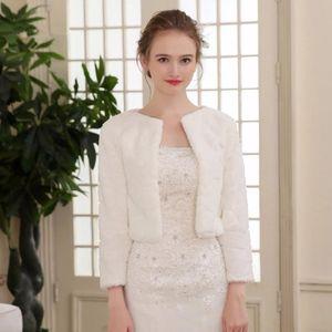 Wraps & Jackets Fur Shawl Wedding Boleros 3 4 Length Sleeves Women Late Autumn Winter Bridal Warm Wrap Jacket Evening