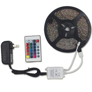 2021 SMD 3528 5M 10M 15M 300led RGB led strip light Waterproof outdoor lighting Multicolor Tape Ribbon 24keys DC12V adapter set