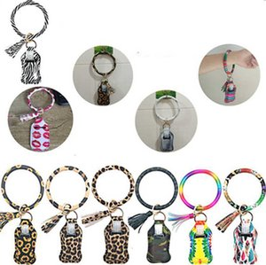 Tassel Print Keychain Leopard Bag Bracelet Wristlet Camouflage Key Rings Hand Sanitizer PU Holder Soap Bottle Cover IIA378