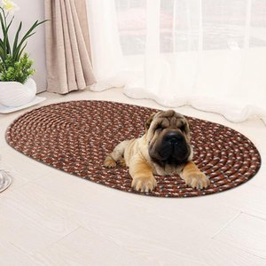 Carpets Four Seasons Washable Oval Pet Dog Bath Mats Absorbent Non-slip Area Rugs Soft Warm Foot Pad Bedroom Hallway Kitchen Home Decor