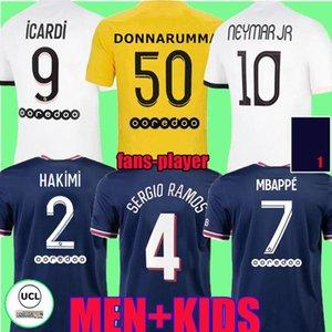 21 22 Sergio Ramos Hakimi Paris Futbol Formaları Maillots De Futbol Gömlek 2021 2022 Di Maria Neymar Mbappe Kadın Erkek Çocuk Kiti Uzun Kollu Wijnaldum Fanlar oyuncu versiyonu