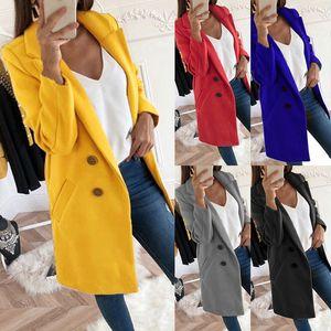Поло осенью зима мода лавочки рукава женские повседневные тонкие твердые кнопки карманные дамы длинные куртки пальто