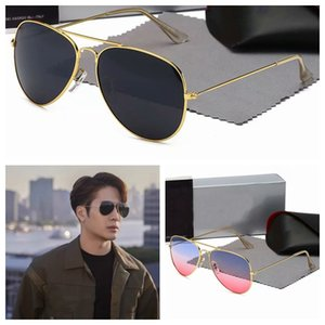 2021 Classic Round Brand ray Design UV400 Sunglasses Eyewear Metal Gold bans Frame Sun Glasses Men Women Mirror 3025 Polaroid glass Lens