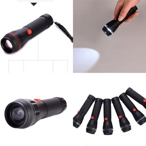 LED Strong Light Flashlight Outdoors Handheld Plastic Lighting Multiple Lamp Caps Two Gear Adjustment Lights Black Portable 2 1xr M2