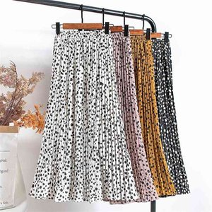 CroySier Femmes Jupe plissée Jupe plissée élastique taille haute Sunjirts d'été pour femmes décontractées midi décontracté jupe long midi longueur 210330