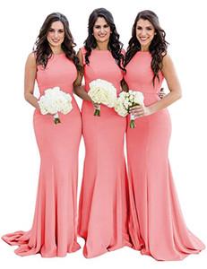 Mermaid Bridesmaids Dresses for Women, Jewel Neck Elastic Satin Simple Bridesmaid Dress Sleeveless teens Wedding Party