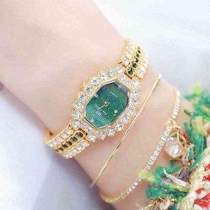BS бренд часы женщин бриллиантное маленькое платье кварцевый браслет часы горный хрусталь зеленые часы женские женские наручные часы монтре Femme