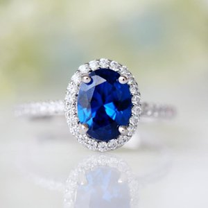 Cluster Rings Latest Silver 925 Ring Women Luxury Crystal Zircon Sapphire Water Blue Wedding Jewelry Promise Engagement Female