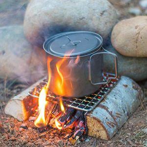 2020 Nuevo Camping al aire libre Pot Rack Square 304 Barbacoa de acero inoxidable Malla Simple Firewood Barbacoa Parrilla Herramientas al aire libre 557 Z2