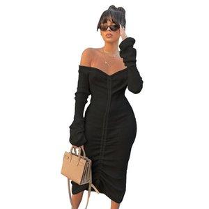 FrontString Sexy Sexy Bandage Платья для женщин Белая Чуша Шеи Длинный Рукавом Клуб Люки Носите осенью Зима Снятие Плеча Maxi Платье