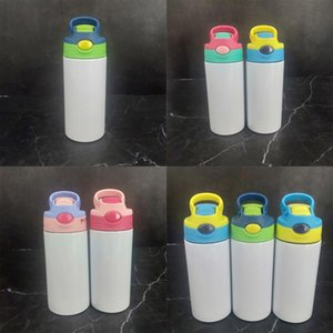 Sublimation Tumblers Stainless Steel lnsulated cups 12oz Children 350ml Sippy water bottle Steel Sublimation Blanks with nipple lid cup