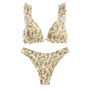 Women's Summer Sexy Floral Print Ruffle High Cut Bikini Set Two Piece Swimsuit Beach Bathing Suit Swim Wear Swimwear