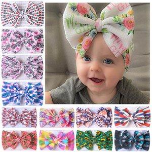 Girls Hair Accessories Baby Headbands Letter Childrens Head Bands Diy Fabric Print Bow Headscarf Rainbow Infant Kids Accessory B8193