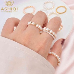Ashiqi Fashion 3-4mm Mini Pequeño Pequeño Natural Pearl Pearl Pareja Anillos Real 925 Sterling Silver Jewelry para mujer Regalo