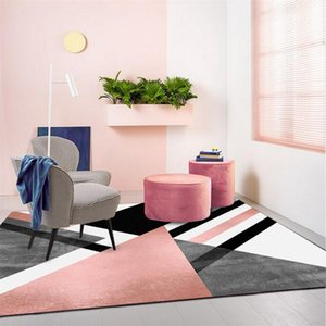 Nordic Geometric Carpet Modern Living Room Home Decoration Rug Bedroom Hallway Non Slip Mats Pink Doormats Lounge Carpet 160X230 1284 V2