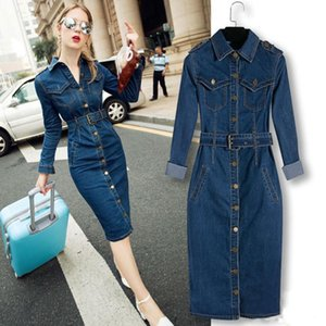 ZOGAA Jeans Dress Denim Dresses Winter Office Slim Jeans Long Sleeve Mid-Cuff Denim with Belt for Women Dress Long