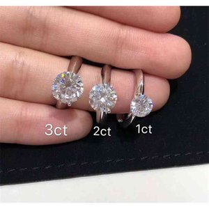 Have stamp 925 sterling silver claw 1-3 karat diamond rings moissanite womens marry engagement wedding sets pandora style jewelry gift