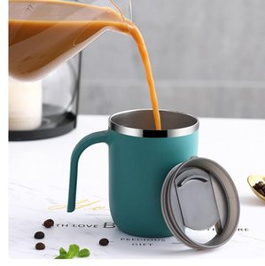 Double Wall Stainless Steel Mugs with Handles Vacuum Insulated Coffee Cups Side Lacquer Creative Tumbler Simple Home Water Cup 400ml HHC7030