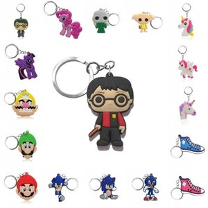 500pcs Keychain Hot Cartoon Chain Anime Ring Fashion Accessories Key Holder Kids Gift 210409