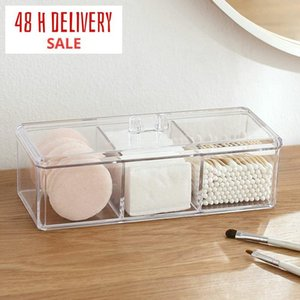 Transparent Cosmetic Storage Box Makeup Organizer Three-color Cotton Swab Cotton Pad Storage Box Desktop Acrylic Material