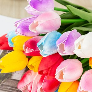 single Latex Tulips Artificial PU Flower bouquet Real touch For Home decoration Wedding Decorative Flowers