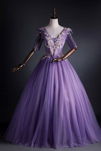real lavenderembroidery court half sleeve long dress beading medieval Renaissance Victoria dress gown EVENT
