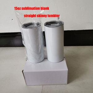 2021 selling straight heat transfer prints 15oz 450ml skinny tumbler sublimation slim cup with straw and lid factory wholesale