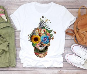 S-4XL Women T-shirtS 2021 Summer top Fashion Skull Plant Short Sleeve Lady shirts Top T Shirt Ladies Womens Graphic Female Tee 2PCS