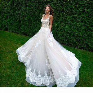 High Quality Champagne and Ivory Sheer Top Wedding Dresses Floor length A-Line Applique Bridal Gown Vestido De Noiva Robe De Mariage