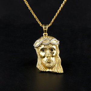 Mens Hip Hop Necklace Jewelry Fashion Stainless Steel JESUS Piece Pendant High Quality Gold Necklaces