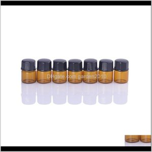 Packing Bottles 1Ml 2Ml L Small Amber Glass Sample Bottle Vials With Orifice Reducer Black Cap For Aromatherapy Essential Oils Bsukm R8Uaq