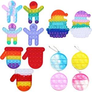 Christmas kids fidget toys sensory rainbow push bubble finger fun puzzle Xmas glove dolls santa decompression bubbles board GWB10847