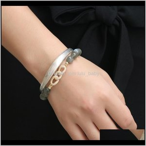 Charm Bracelets Drop Delivery 2021 Yal Crystal Series Natural Gray Moonlit Stone Hand String Womens Jewelry Bracelet G8Ksw