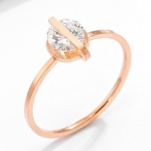 Cluster Rings Fashion Wedding For Women Engagement Rose Gold Color White Cubic Zircon Ring Female Jewelry Gift Free