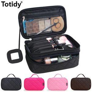Diamond Lattice Cosmetic Bag Double Layer Make Up Bag Brush Organizer For Women Portable Storage Bag Travel Makeup Pouch