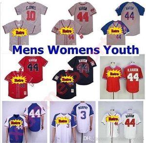 Braves Men Женщины Дети Винтажные Бейсбольные Майки 44 HANK Aaron H.aaron 3 Дейл Мерфи 10 Чиппер Джонс 1957 1963 '1973