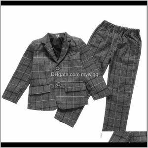 Boys Gentleman Formal Kids Plaid Fashion Blazer Pants 2Pcs Party Wedding Suits Autumn Children Clothing Sets Teens Costume Mjbzp Tkpib