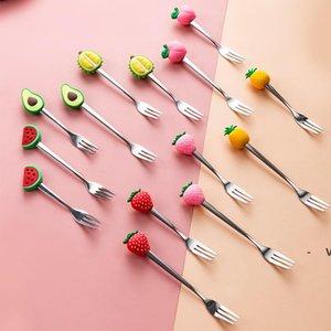 Frutas em forma de frutas abacate forquilha de aço inoxidável frutas criativas de frutas de frutas de frutas de café OWD6287
