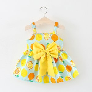 Dresses Children's Girl's Big Bow Tie Suspender Princess Dress A299 Lemon Skirt