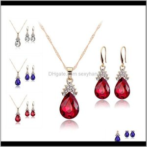 Crystal Diamond Water Drop Earrings Gold Chain Necklace For Women Fashion Wedding Jewelry Sets Will And Sandy Bp3Bx 8Jun9