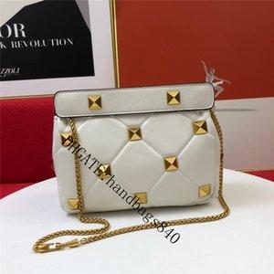 Estilo de preppy Patchwork Diseñador de lujo Bolsos de hombro de cuero de napa Cadena de clavos Bolso de moda de alta calidad Handbag Gold Rivet Flip sobre Bolsos de cuerpo cruzado