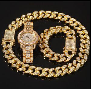 2021 3 stücke set halskette + uhren + armband hip hop miami bordkuban kubanische kette gold gold voll geizig out aspavight strass cz bling für männer schmuck