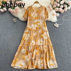 Women Retro Floral Korean Puff Sleeve V Neck A-line Ruffles Summer Bohemian Print Vacation Midi Long Dress 210415