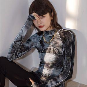 Tie Dye Grey Black t shirt Turtleneck Woman Bodycon Long Sleeve Top Women 2021 Fall Fashion Tee Femme Clothing Women's T-Shirt