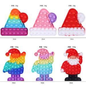 Rainbow Christmas Bell Hats Santa Children's Push Poppers Bubbles Kids Puzzle Decompression Toys Bubble Fidget Silicone Tie Dye Toy G109UF16