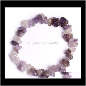 Charm Bracelets Jewelry Drop Delivery 2021 15 Color Natural Healing Crystal Sodalite Chip 18Cm Stretch Mixed Gemstone Chakra Fashion Men Wome