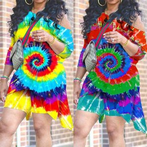 Summer Womens Shorts Set Tie-dyed Whirlpool T shirt Irregular Loose Tops and Short Leggings Biker 2 Piece Designers Outfit Tracksuit Shoulder Off Dress G31DJJK