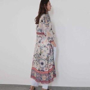 Повседневные платья Modebidi Boho платье винтаж в горошек жаккардовые ткани цветочные принты шифоновые платья v шеи осень hippie_good
